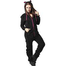 Urban Classics Damen Ladies Teddy Jumpsuit, Mehrfarbig (Blk/Fuc 23), Medium (Herstellergröße: M/L)