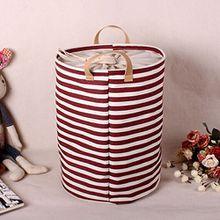 ALLTOP premium cartoon foldable cotton line Wäschekorb Klapp Kinder Spielzeug organizer Spielzeug aufbewahrung Spielzeug Warenkorb Kleidung Halter wäschebox mit Deckel gepunktet, rot 2