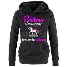Einhorn Königinnen wurden im September geboren ! Damen HOODIE Sweatshirt mit Kapuze SCHWARZ, Gr.S