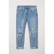 H & M - Boyfriend Low Ripped Jeans - Blue - Damen