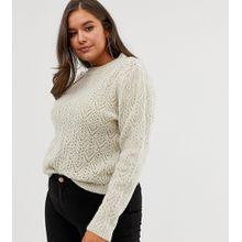 ASOS DESIGN Curve - Pullover mit Ziernähten - Beige