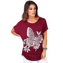 KRISP 3988-WIN-12 Damen T-Shirt Longtop Schmetterling (Weinrot, Gr.40)