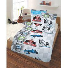 Kinderbettwäsche Rennwagen, Biber, blau, 135 x 200 cm