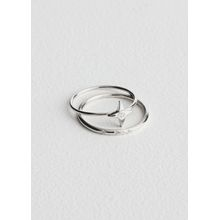 Four Point Star Ring Set - Silver