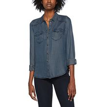ONLY Damen Hemd Onllucky Reg Fit Ted DNM Shirt BJ11004, Blau (Dark Blue Denim Dark Blue Denim), 40