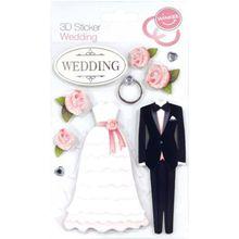 """9-tlg. 3D Sticker Set """"Hochzeit"""" schwarz/weiß"""