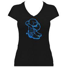 Premium Western Shirt Damen Cowboystiefel mit Cowboyhut Line Dance Shirt mit Glitzeraufdruck , T-Shirt, Grösse XL, Druck rot Glitzer