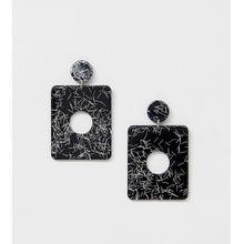 Missguided - Ohrringe mit quadratischem Kunstharzanhänger in Schwarzweiß - Mehrfarbig