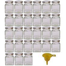 Viva Haushaltswaren 27 x kleines Marmeladenglas/Gewürzglas 106 ml mit silberfarbenem Schraubverschluss, Gläser Set mit Deckel für Gewürze, Konfitüre, Salz etc. verwendbar (inkl. Trichter)