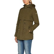 TOM TAILOR Denim Damen Mantel Parka with Teddy Fur, Grün (Golden Olive Green 7537), 36 (Herstellergröße: S)
