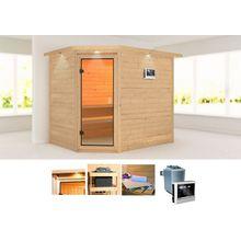 KARIBU Sauna »Tanami«, 259x210x205 cm, 9 kW Ofen mit ext. Steuerung, Dachkranz