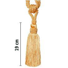 Raffhalter 60 cm/ Quaste 19 cm mit Kordel Gold Gardinen Vorhang Gardinenhalter Quaste Halter für Gardinen im Jugendstil Barock Shabby Chic