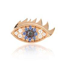 Ohrring Evil Eye aus 18kt Roségold mit Diamanten und Saphiren