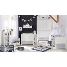Roba Komplett Kinderzimmer Linus, 3-tlg. (Kinderbett, Wickelkommode und Kleiderschrank), weiß/grau