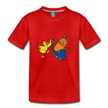 Spreadshirt Sendung Mit Der Maus Tanzt Mit Elefant Und Ente Kinder Premium T-Shirt, 122/128 (6 Jahre), Rot