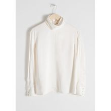 Satin Turtleneck Blouse - White
