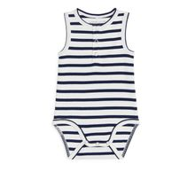 Sleveless Henley Bodysuit - Blue