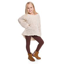 Hi! Mom WINTER KINDER LEGGINGS volle Länge Baumwolle Kinder Hose Thermische Material jedes Alter child28 - Braun, EU 122-128