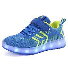Kinder Schuhe mit Licht LED Schuhe USB Aufladen Leuchtend Sportschuhe Sneaker Laufschuhe Turnschuhe Trainer Blinkschuhe Schuhe für Mädchen Jungen Blau 37