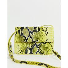 Pieces - Neonfarbene Umhängetasche mit Schlangenprint - Gelb