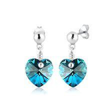 Elli Ohrringe Ohrhänger Herz Swarovski® Kristalle 925 Silber Ohrringe blau Damen