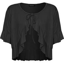 WearAll - Damen Übergröße Rüsche Binden Elastisch Kurzarm V-Ausschnitt Cardigan Top - Schwarz - 42