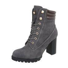 Ital-Design Schnürstiefeletten Damen-Schuhe Schnürstiefeletten Pump High Heels Reißverschluss Stiefeletten Grau, Gr 38, S89-