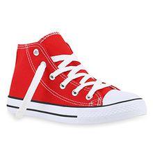 Kinder Turn Sneakers Schnür Sport Stoff Schuhe 140059 Rot 36 Flandell