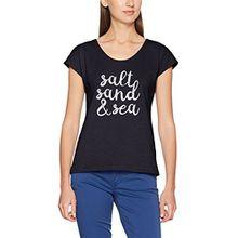 edc by ESPRIT Damen T-Shirt 057CC1K003, Blau (Dark Blue 405), 38 (Herstellergröße: M)