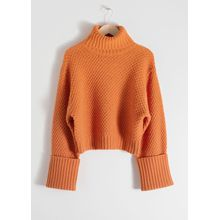 Cropped Wool Blend Turtleneck - Orange
