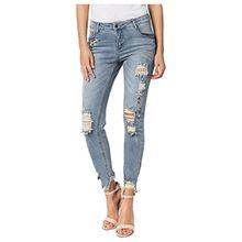 Rock Angel Damen Jeans EILEEN | Skinny Jeanshose mit heavy Destroyed & Perlen Parts light-blue XS