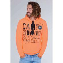 CAMP DAVID Hoodie mit Raw Edges und Used Artwork Sweatshirts neonorange Herren