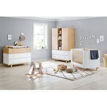 Pinolino Komplett Kinderzimmer Boks, breit und groß, 3-tlg. (Kinderbett 70 x 140 cm, breite Wickelkommode und Kleiderschrank 2-türig), weiß lackiert, Ahorn Nachbildung