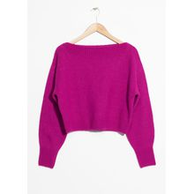 Cropped Boatneck Sweater - Pink