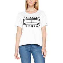 Tommy Jeans Hilfiger Denim Damen THDW Basic CN T-Shirt S/S 25, Weiß (Bright White 113), X-Small