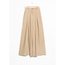 Paperbag Waist Wide Trousers - Beige