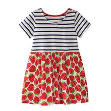 HUIHUI Kleid Mädchen, Toddler Mädchen Kleid Erdbeeremuster Kurzarm Sommerkleid Party Prinzessin Dress Casual T-shirt Kleid Frühlings Herbst Cocktailkleid (130 (5-6Jahre), Rot)