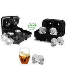 3D Totenkopf-/Diamanten-Eiswürfelform, flexible Silikon-Eiswürfelschale mit Deckel, BPA-frei schwarz + 2Trichter (2er Pack)