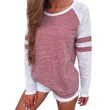 Sweatshirt T-shirt,Dasongff Mode Damen Langarm Gestreift Strick Spleiß-Blusen Oberseiten Langshirt T-Shirt Oberteil Tops (S, Rot)