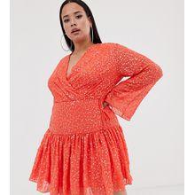 ASOS DESIGN Curve - Mini-Wickelkleid mit schwingendem Rock und durchgängiger Paillettenverzierung - Orange