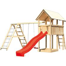 Spielturm Danny mit Satteldach, Gerüst, Doppelschaukel und Rutsche rot