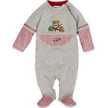 Schnizler Unisex Baby Schlafstrampler Schlafanzug Landhaus, Oeko Tex Standard 100, Gr. 62, Grau (grau/melange 37)
