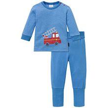 Schiesser Baby-Jungen Zweiteiliger Schlafanzug Anzug 2-Teilig, Blau (Hellblau 805), 56