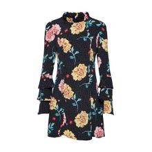 Missguided Kleid 'Polka Dot Floral High Neck Dress' gelb / pink / schwarz