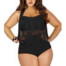 Butterme Damen Retro hohe Taillen Troddel Franse Zweiteiler Bikini Badebekleidung Plus Size (Schwarz,Größe L)
