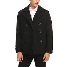 Burlady Herren Mantel Winterjacke selbst wolle Coat Business casual warme mäntel, Schwarz, Gr. XL