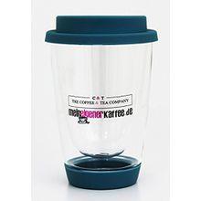 """Doppelwandiges Teeglas Trinkbecher 340 ml Thermoglas (hochwertiges Borosilikatglas) mit Silikondeckel & Trinköffnung, Der """"Tea to Go-Becher"""" (Hellblau) Ideal für unterwegs"""