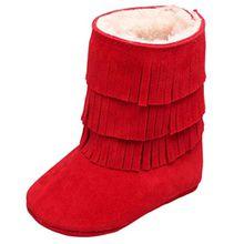 FNKDOR Babyschuhe Mädchen Jungen Neugeborene Weiche Rutschfest Stiefel mit Fransen (18-24 Monate, Rot)