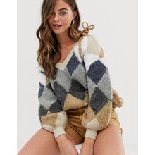 Skylar Rose - Oversize-Pullover mit Vintage-Argyle-Muster - Mehrfarbig