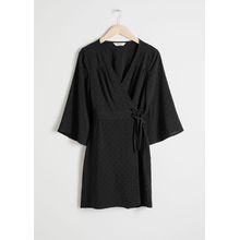 Flare Sleeve Wrap Dress - Black